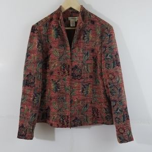 Coldwater Creek Red & Green Floral Zip Jacket